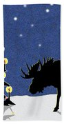 Candlelit Christmas Tree And Moose In The Snow Beach Towel