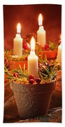Candles In Terracotta Pots Beach Towel by Amanda Elwell
