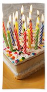 Candles On Birthday Cake Beach Towel