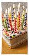 Candles On Birthday Cake Beach Sheet
