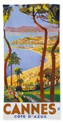 Cannes Vintage Travel Poster Beach Towel