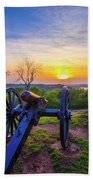Cannon At Sunset Beach Towel