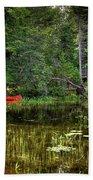 Canoe Among The Reeds Beach Towel