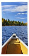 Canoe Bow On Lake Beach Towel by Elena Elisseeva
