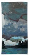 Canoe Lake Rain Beach Towel