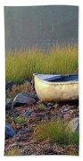 Canoe On The Rocks Beach Sheet
