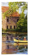 Canoeing Past The Mill Beach Towel