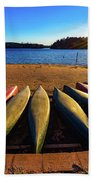 Canoes At Sunset Beach Towel