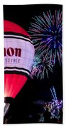 Canon - See Impossible - Hot Air Balloon With Fireworks Beach Towel