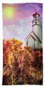 Cape Blanco Lighthouse In Oregon Beach Towel
