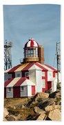 Cape Bonavista Lighthouse, Newfoundland, Canada Old And New Lamp Beach Towel