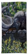 Cape Buffalo First Painting Beach Towel
