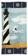 Cape Hatteras Lighthouse - Ship Wheel Border Beach Towel