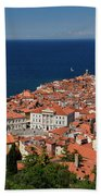 Cape Madonna At Point Of Piran Slovenia On Blue Adriatic Sea Wit Beach Towel