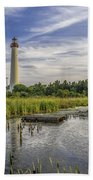 Cape May Lighthouse From The Pond Beach Towel