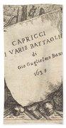 Capricci Di Varie Battaglie (title Page) Beach Towel