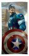 Captain America With Helmet Beach Sheet