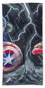 Captain American Vs Ironman Beach Towel
