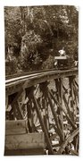 Car On A Wooden Railroad Trestle Circa 1916 Beach Sheet