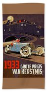 Car Racing Christmas Poster Of The 30s Beach Towel