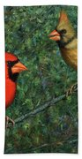 Cardinal Couple Beach Towel by James W Johnson