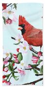 Cardinals And Apple Blossoms Beach Towel