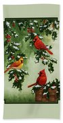 Cardinals And Holly - Version With Snow Beach Towel by Crista Forest