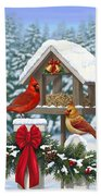 Cardinals Christmas Feast Beach Sheet by Crista Forest