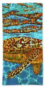 Caribbean Hawksbill Sea Turtle Beach Towel
