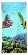 Caribbean Sea Turtle And Reef Fish Beach Towel