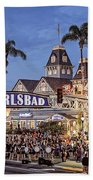 Carlsbad Village Sign Lighting Beach Towel
