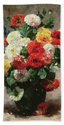 Carnations In A Vase Beach Towel