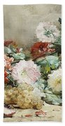 Carnations, Roses, Grapes And Peaches Beach Towel