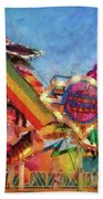 Carnival - A Most Colorful Ride Beach Towel by Mike Savad
