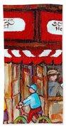 Carole Spandau Paints Montreal Memories - Montreal Landmarks - Schwartzs Hebrew Deli St. Laurent  Beach Towel