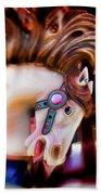 Carousel Horse Portrait Beach Towel