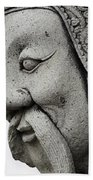 Carved Monk Statue Beach Towel
