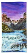 Cascades In Patagonia Painting Beach Towel
