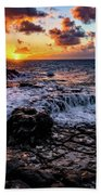 Cascading Water At Sunset Beach Towel