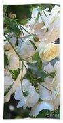 Cascading White Roses Beach Towel