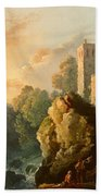 Castle And Waterfall Beach Towel
