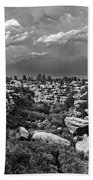 Castlewood Canyon And Storm - Black And White Beach Towel