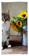 Cat And Sunflowers Beach Towel by Nailia Schwarz