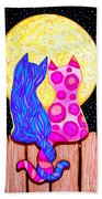 Cat Couple Full Moon Beach Towel