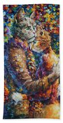 Cat Hug   Beach Towel