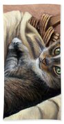 Cat In A Basket Beach Sheet