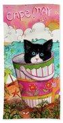 Cat In A Pail Beach Towel