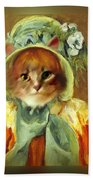 Cat In Bonnet Beach Towel