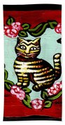 Cat In Heart Wreath 2 Beach Towel