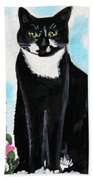Cat In The Garden Beach Towel